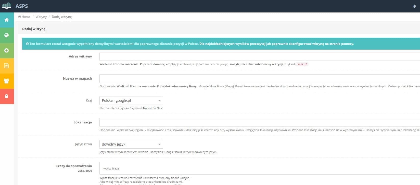 monitorowanie pozycji witryny w ASPS