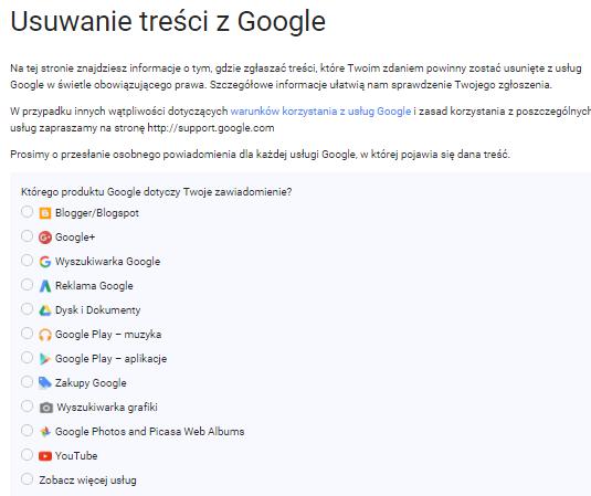 usuwanie treści z google