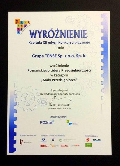 Wyróżnienie Poznańskiego Lidera Przedsiębiorczości