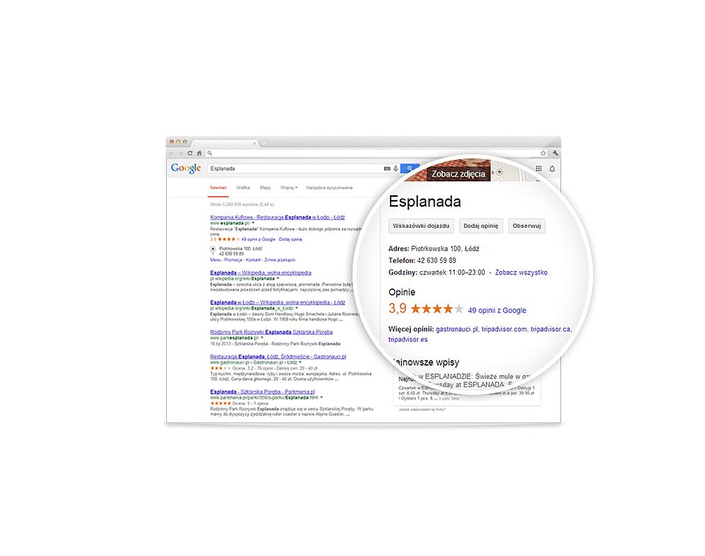 Wpisy w wizytówce Google Moja Firma