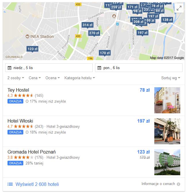 ceny hoteli w Google