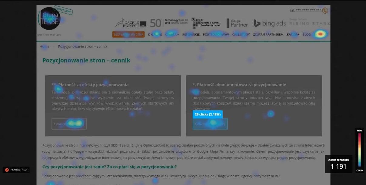 Clickmapa wykonana w narzędziu HotJar