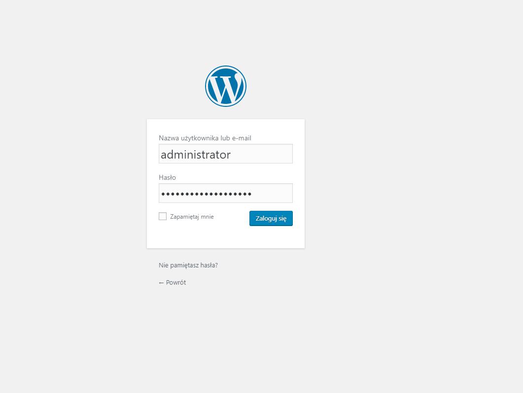 logowanie do systemu WordPress