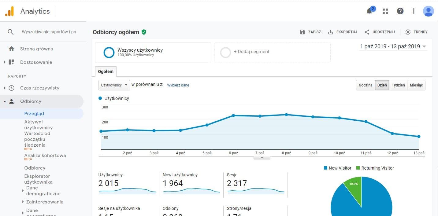 analiza użytkowników w Google Analytics