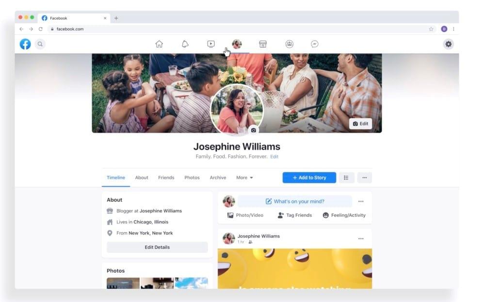 nowy wygląd Facebooka