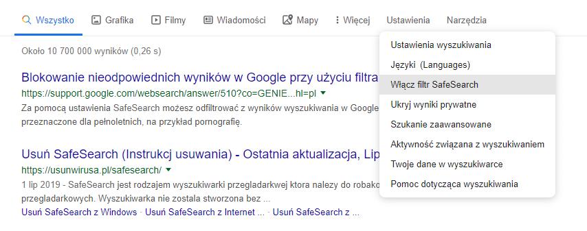 filtr safe search
