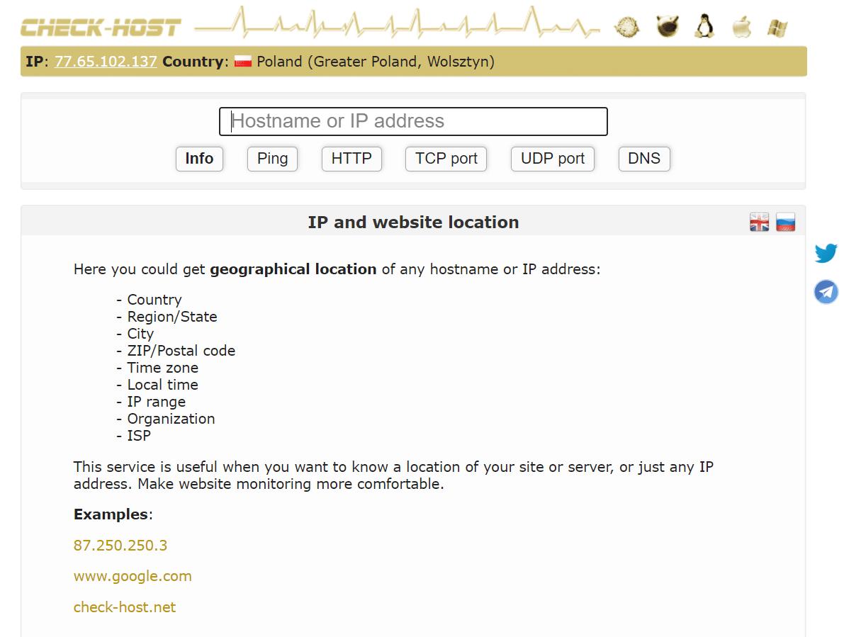 Sprawdzanie lokalizacji serwera