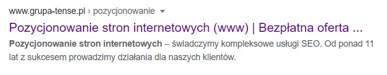 Słowa kluczowe zaznaczone w meta description