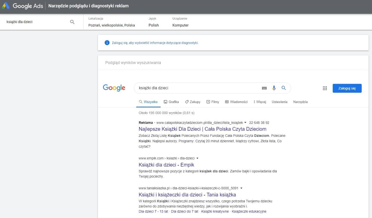 narzędzie Google Ad Preview