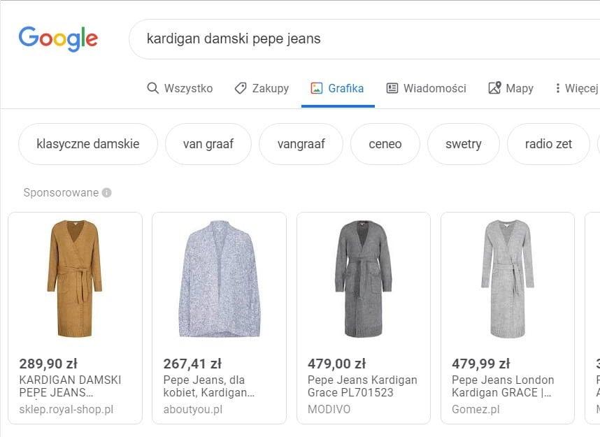 Google Shopping częścią grafiki Google