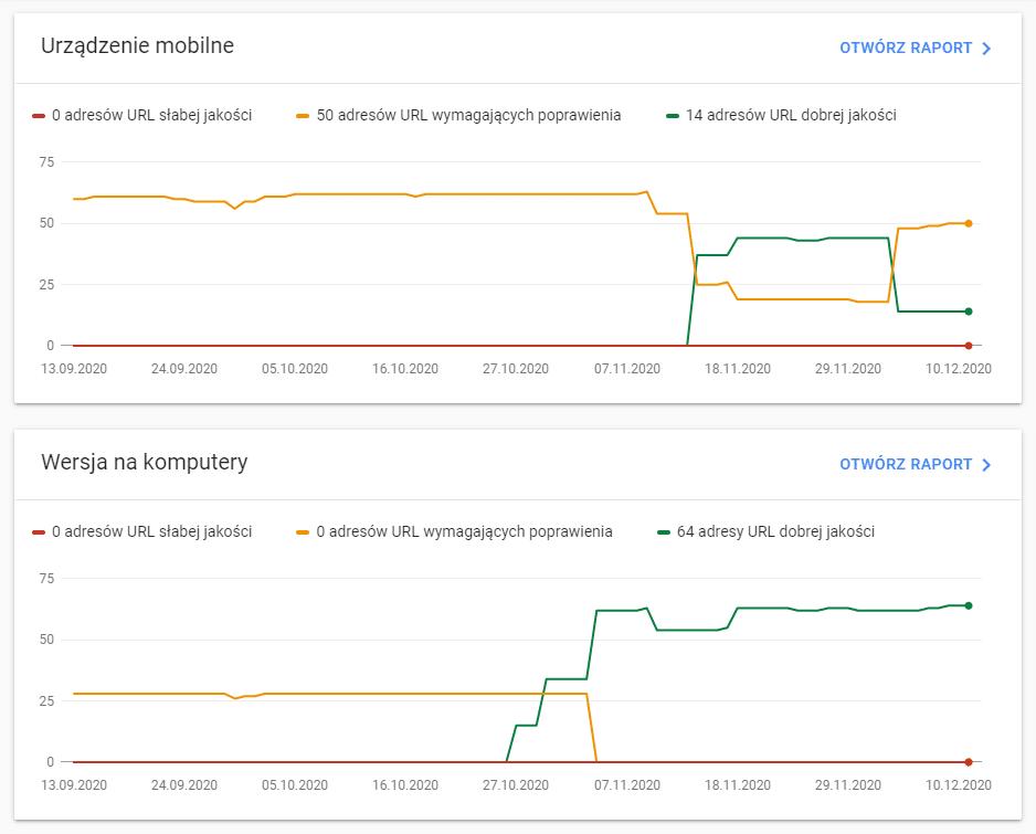 "Raport ""Podstawowe wskaźniki internetowe"" w Google Search Console"
