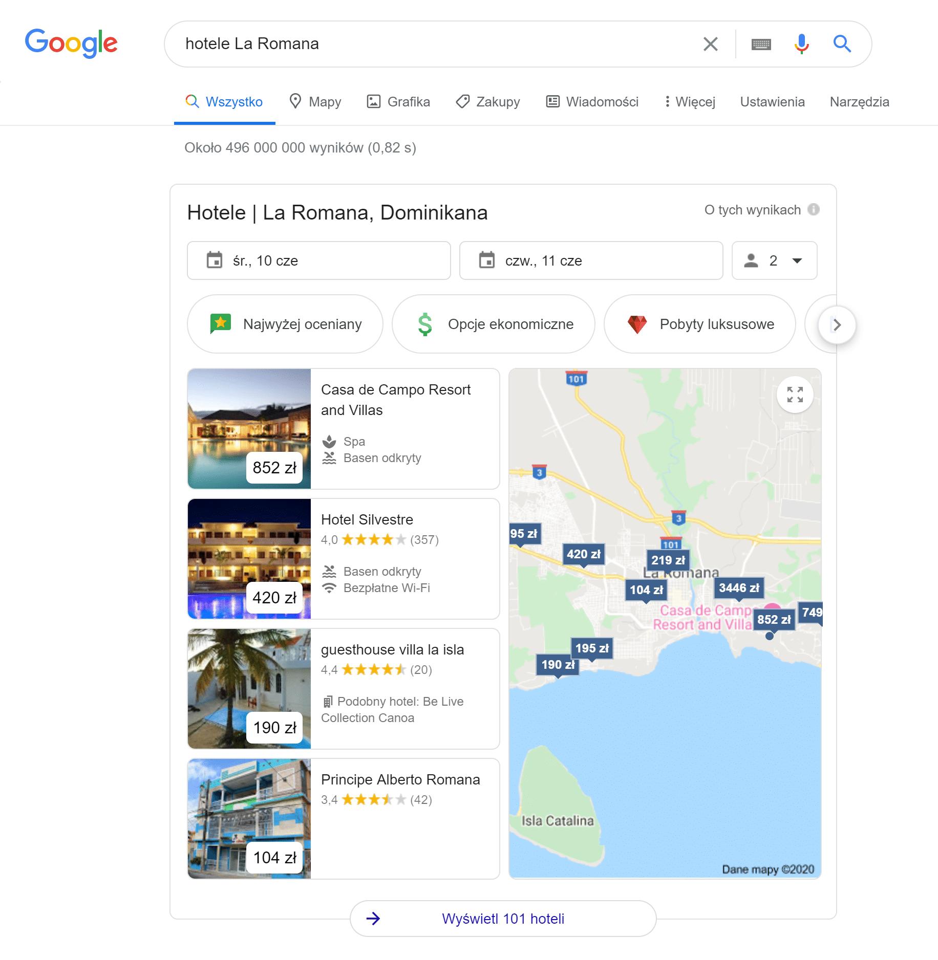 wyszukiwarka hoteli jako przykład direct answear