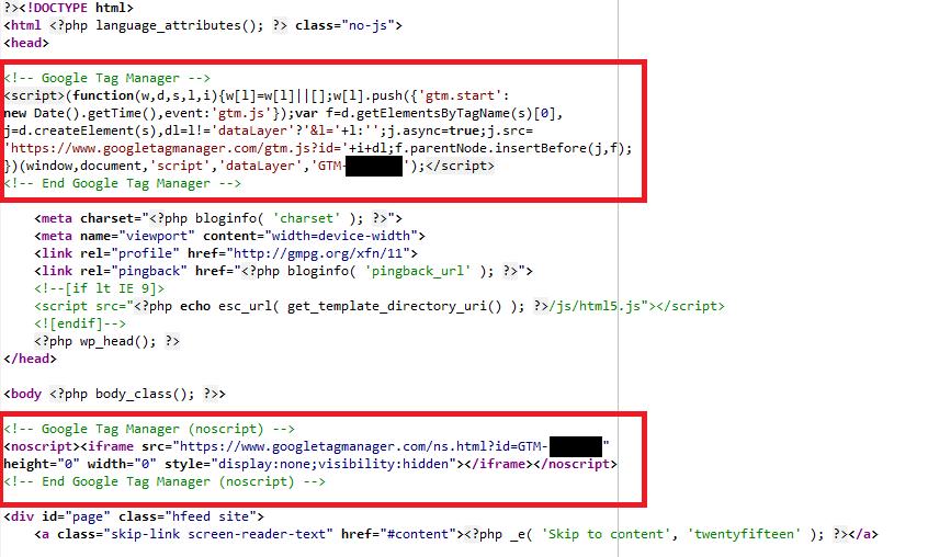 Kod strony z zainstalowanym Google Tag Managerem