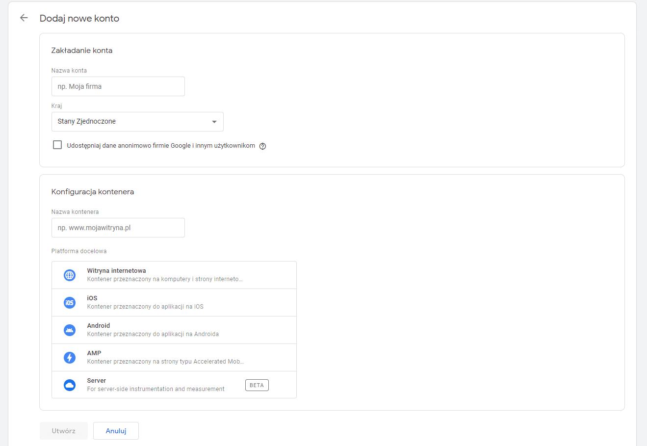 Konfiguracja konta w Google Tag Manager