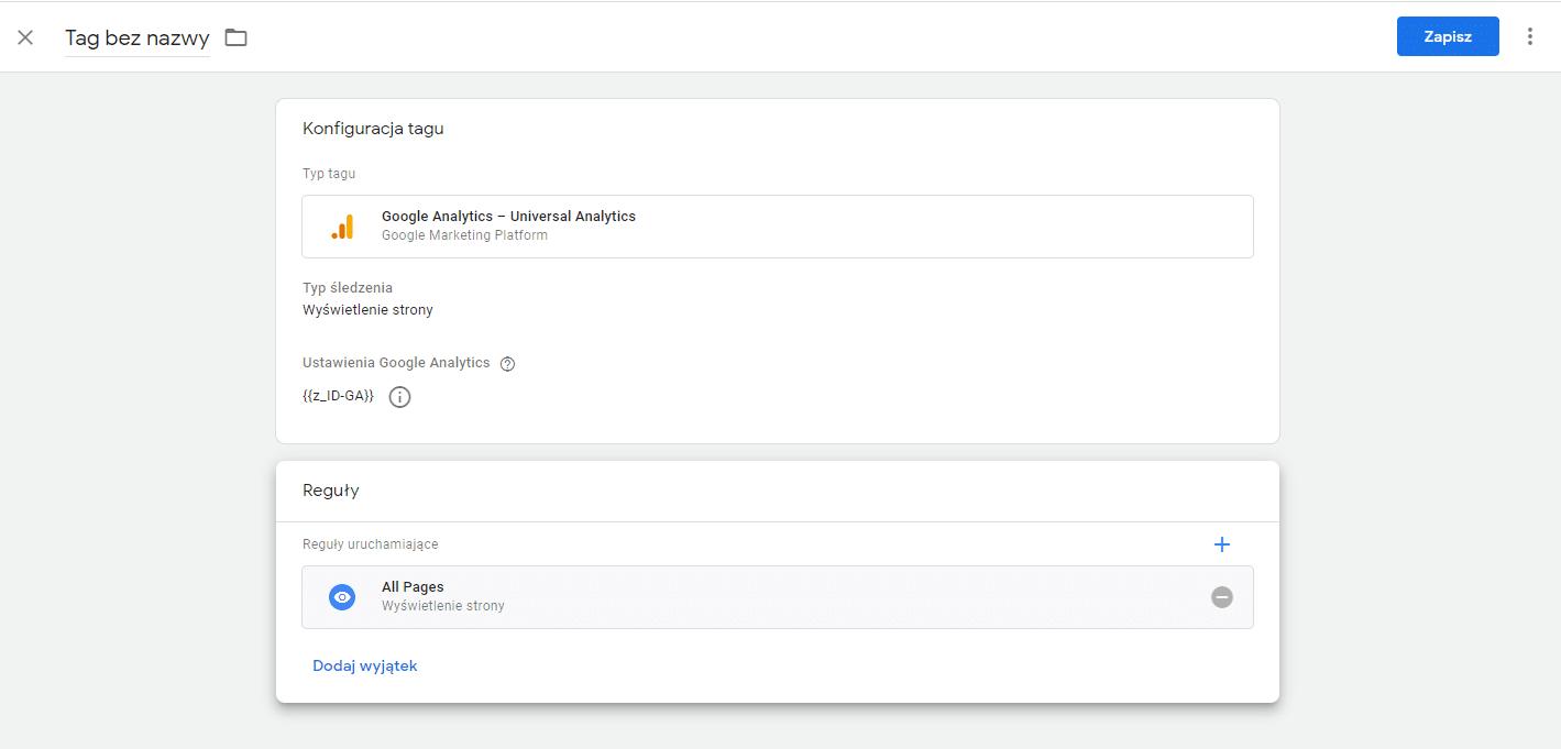 Konfiguracja reguł w Google Tag Manager