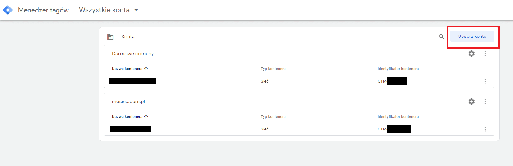 Tworzenie konta w Google Tag Manager