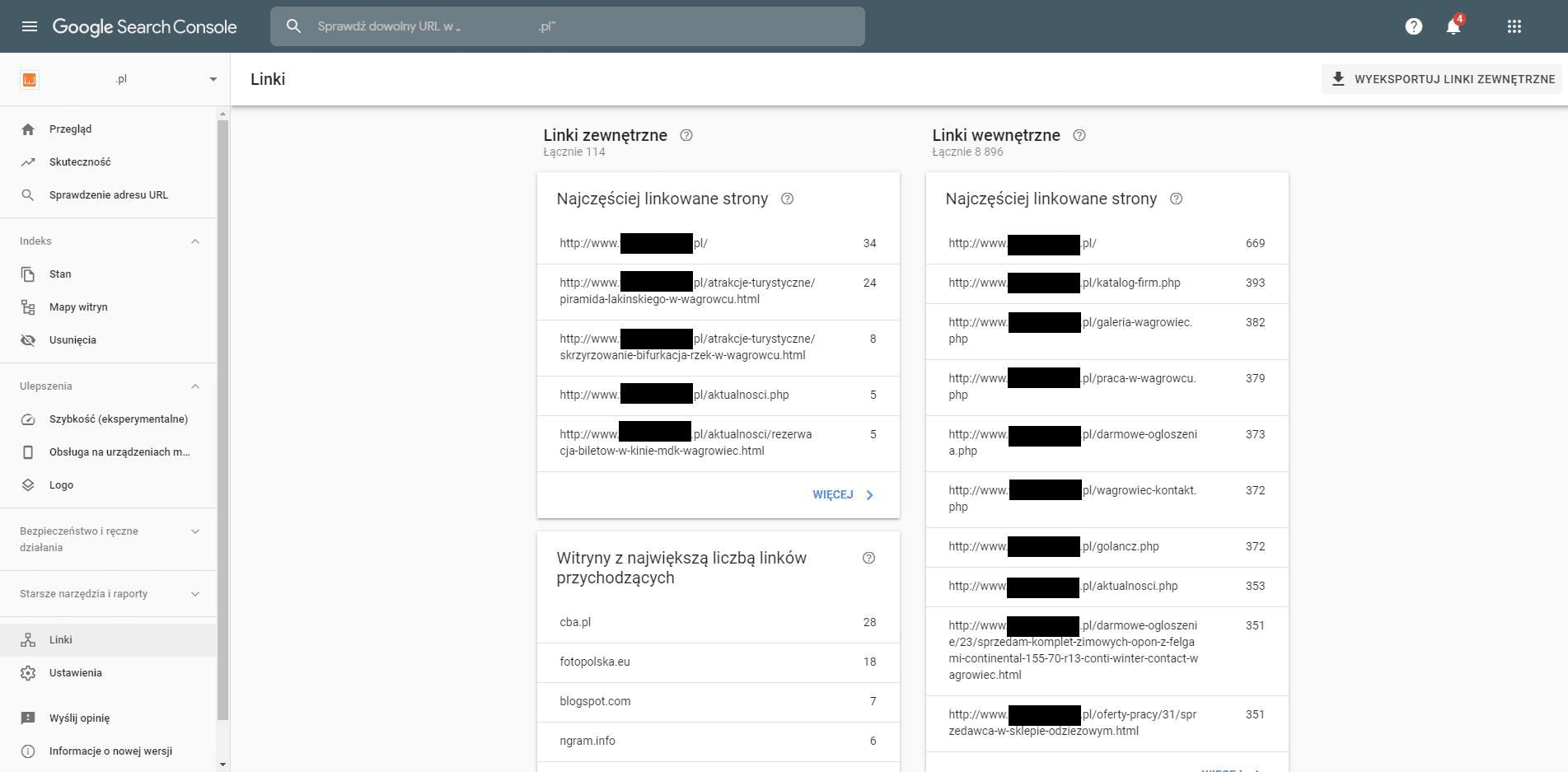 Sprawdzanie linków - Google Search Console