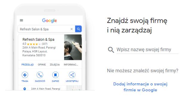 Nadanie nazwy firmie w Google Moja Firma