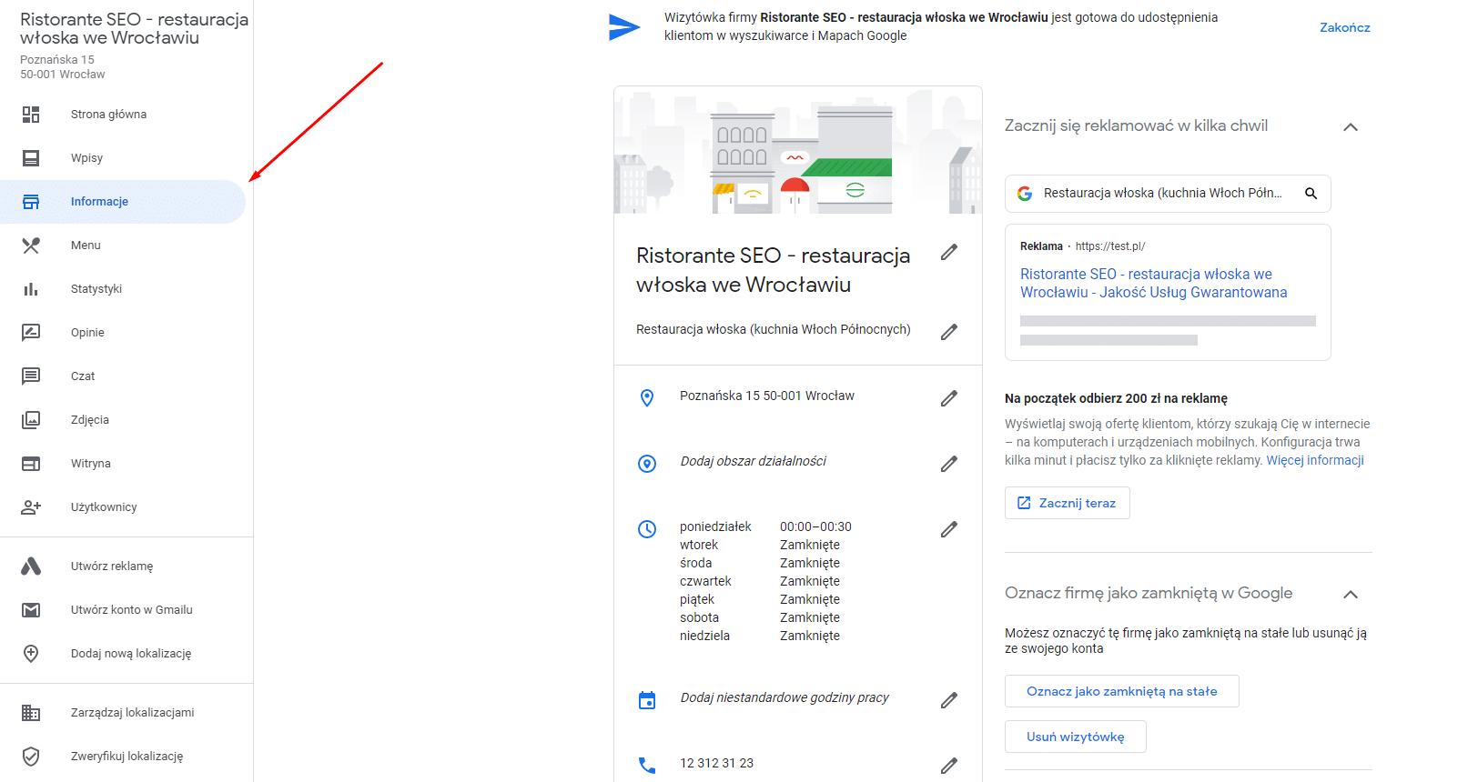 Panel administracyjny Google Moja Firma