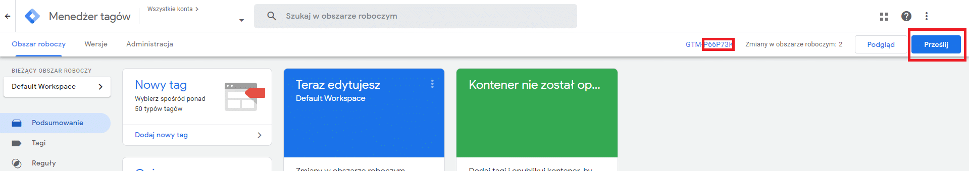 Publikacja kontenera w Google Tag Manager