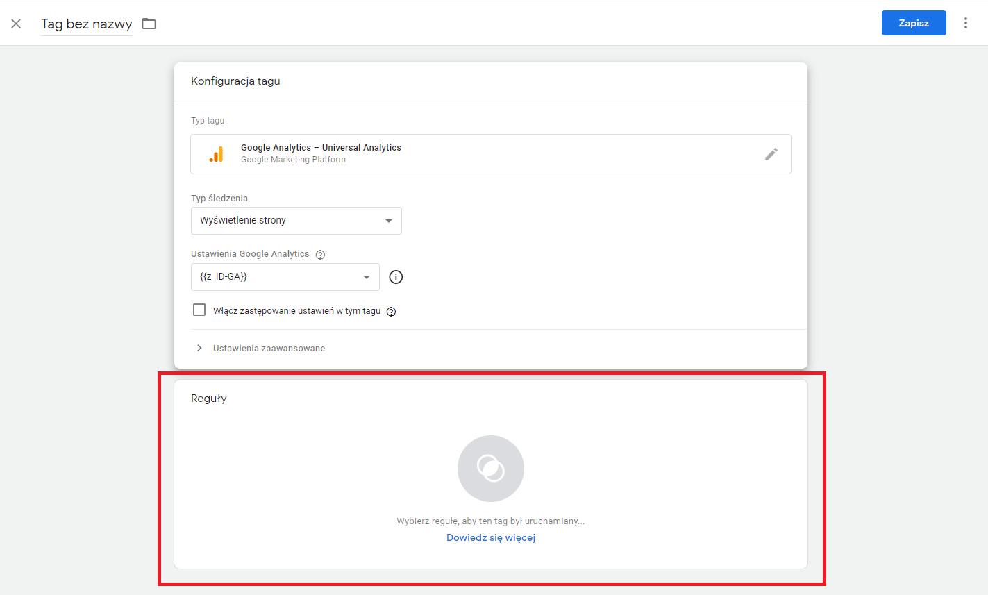 Reguły wyzwalaniu tagu w Google Tak Manager