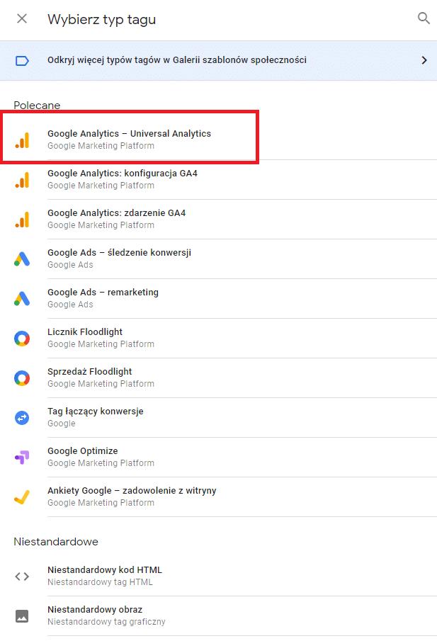Typy tagów w Google Tag Manager