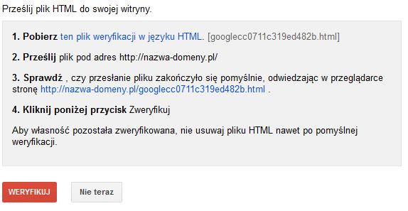 weryfikacja - plik HTML