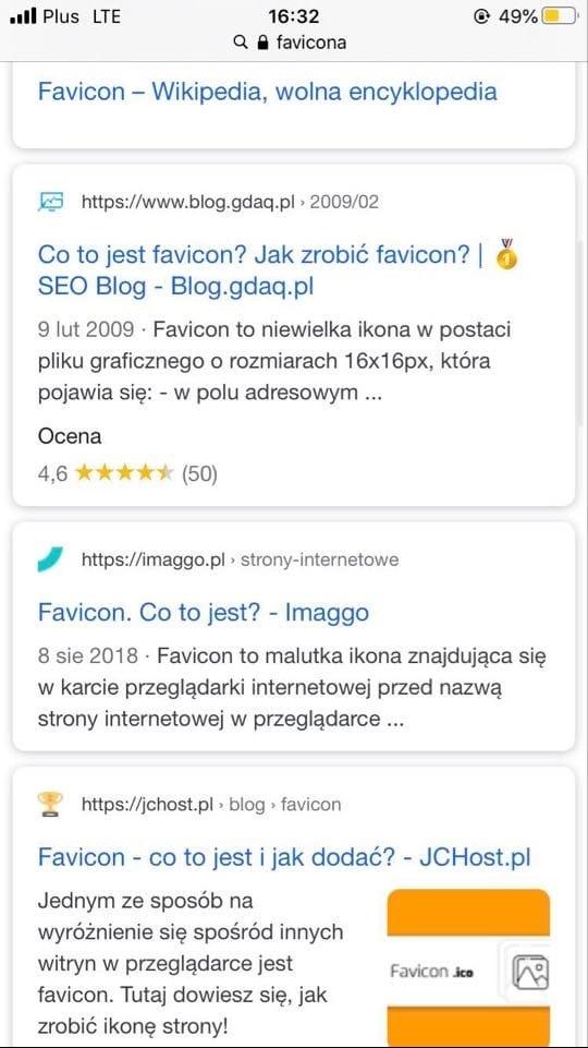 wyniki wyszukiwania bez favicona