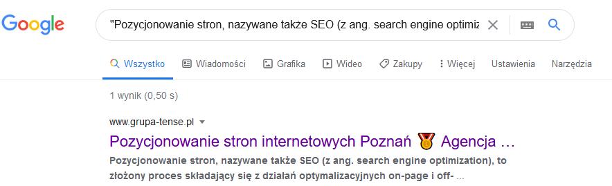 Przykład sprawdzania plagiatu w wyszukiwarce