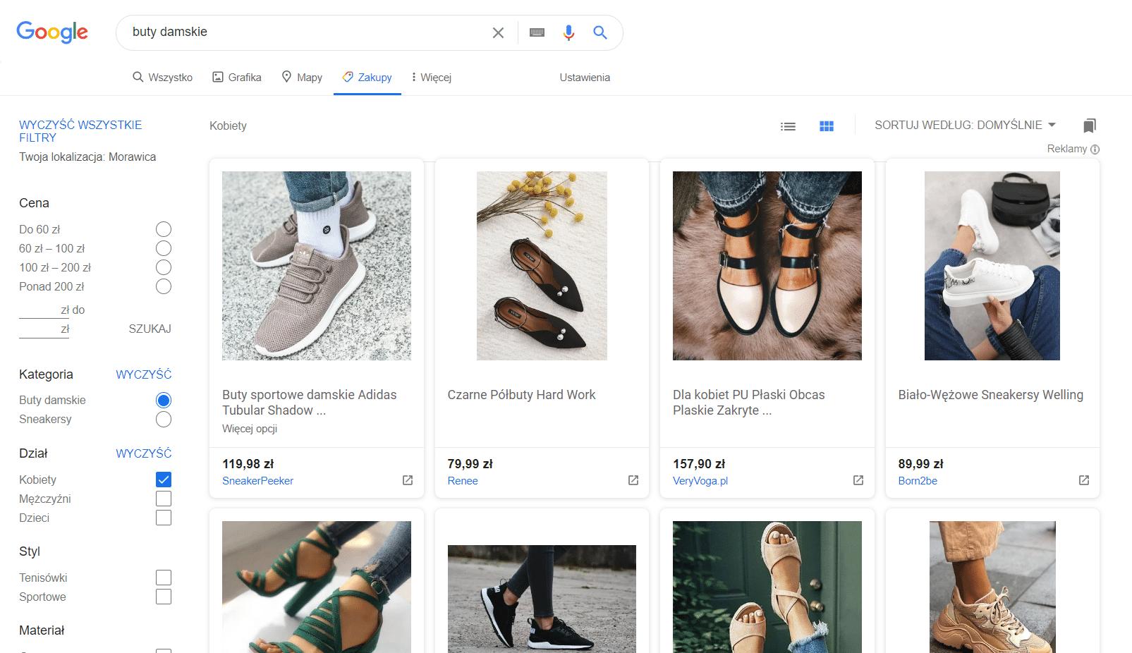 W branży modowej dobrze sprawdzają się Zakupy Google.