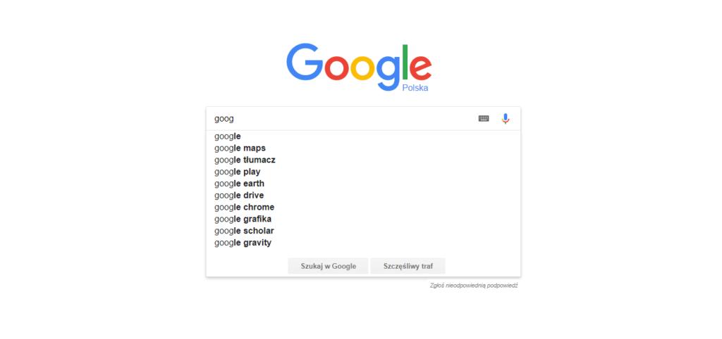 Autouzupełnianie Google ponownie wyświetla 10 podpowiedzi