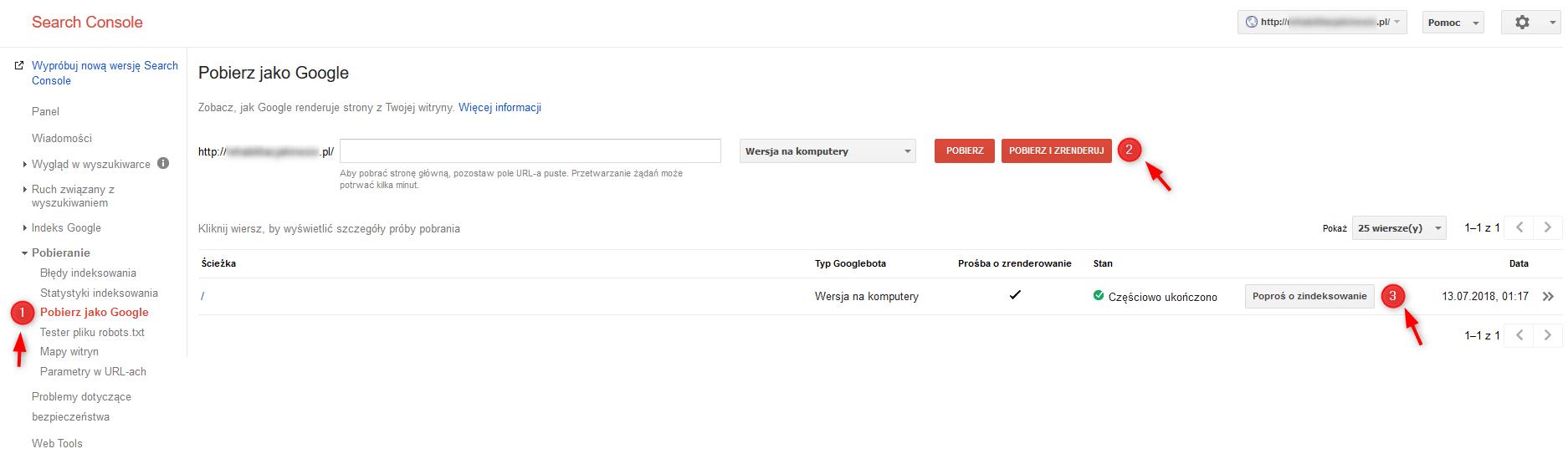 instrukcja pobierania strony jako google w GSC