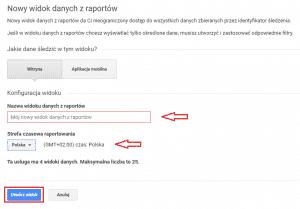 Tworzenie nowego widoku danych z raportów w Google Analytics