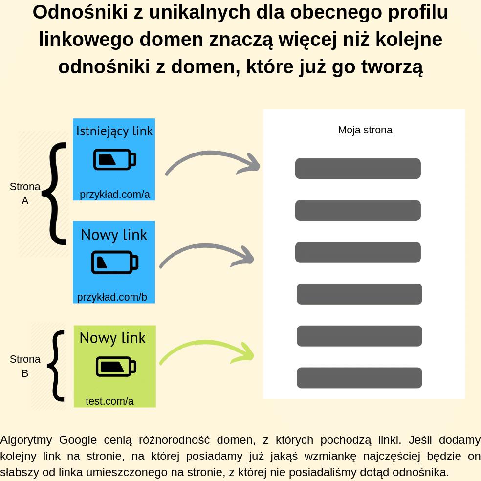 Odnośniki z unikalnych dla obecnego profilu linkowego domen znaczą więcej niż kolejne odnośniki z domen, które już go tworzą