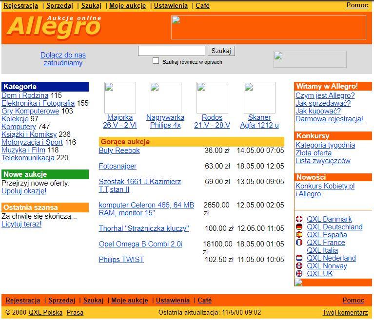 dawna wersja serwisu Allegro