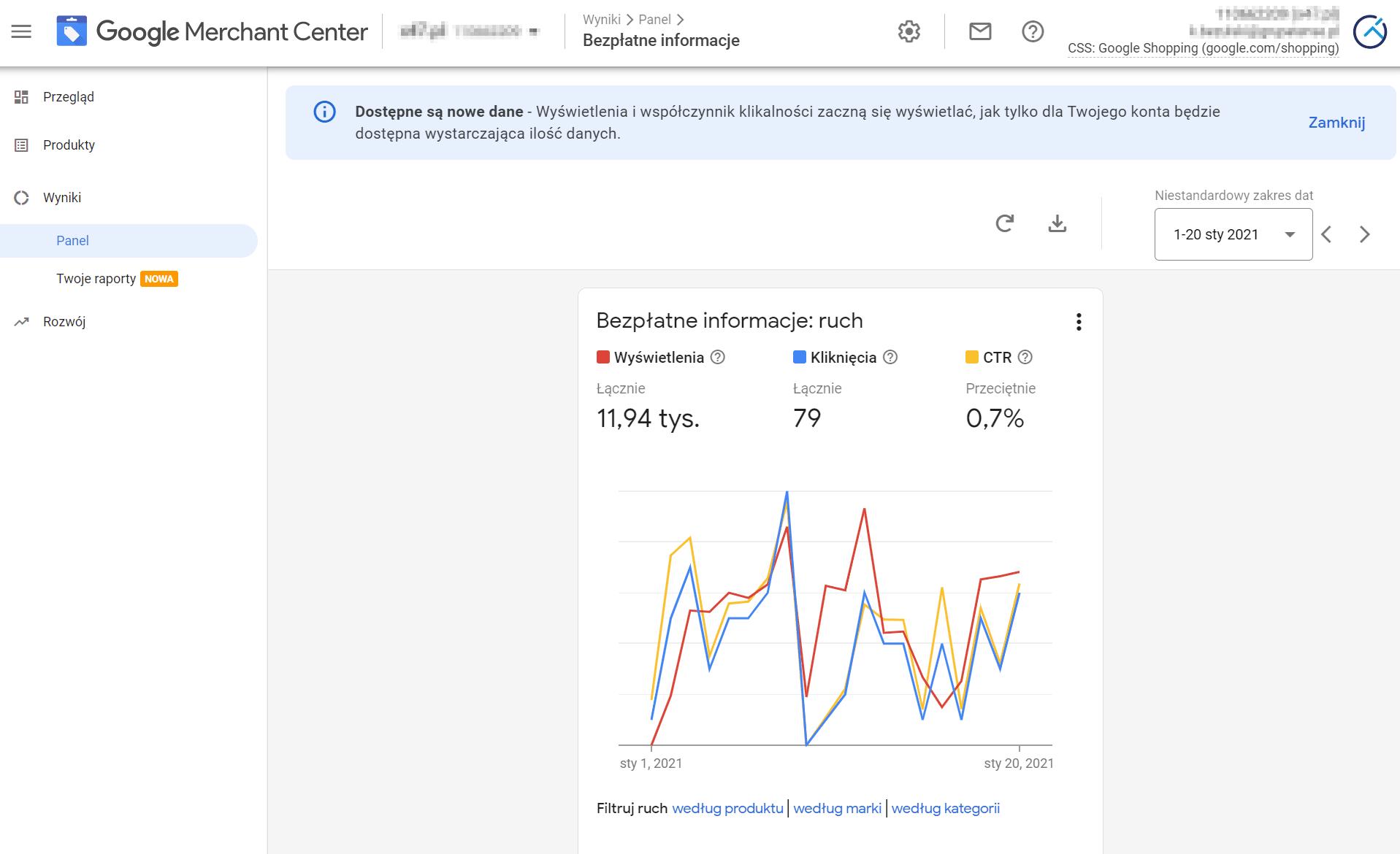 Bezpłatne informacje o produktach na karcie Zakupy Google
