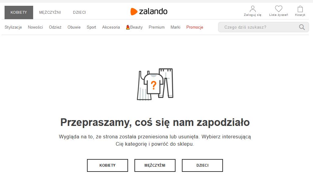 błąd 404 Zalando