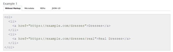 Breadcrumbs zaimplementowany w HTML