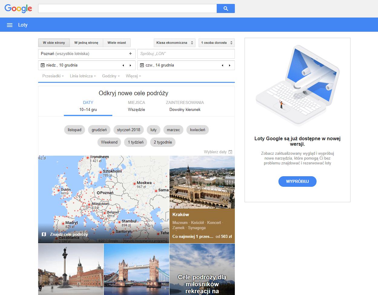 google flights stary interfejs
