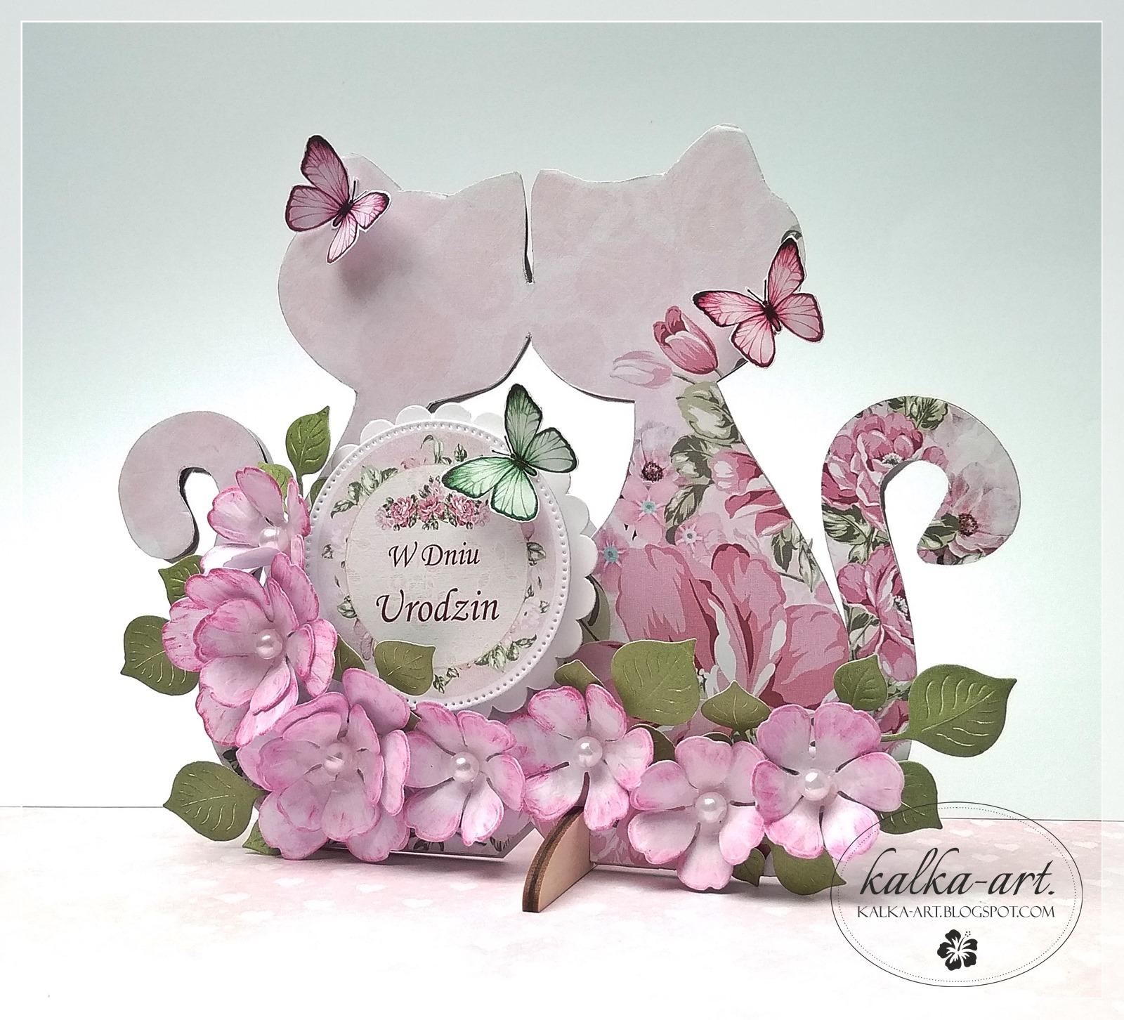 kartka w kształcie kotów wykonana przez Karolinę Zuziak