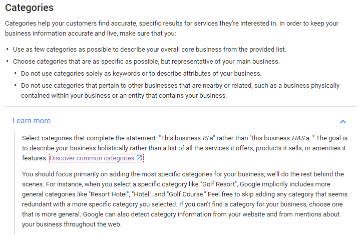 categories GMB - screen from Google guidelines