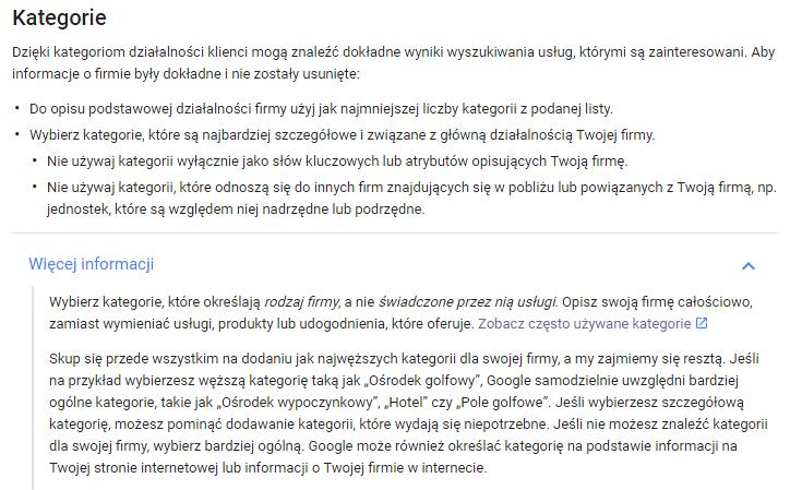 kategorie Google Moja Firma - screen z pomocy google - pl