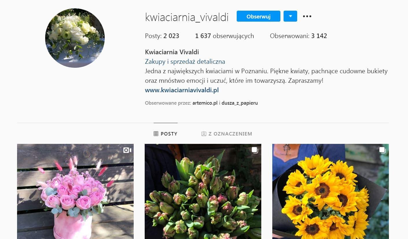 załóż konto na Facebooku albo Instagramie dla kwiaciarni