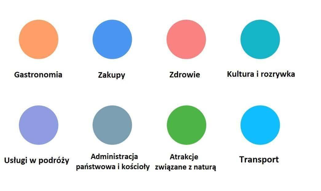 legenda kolorow branz w google maps