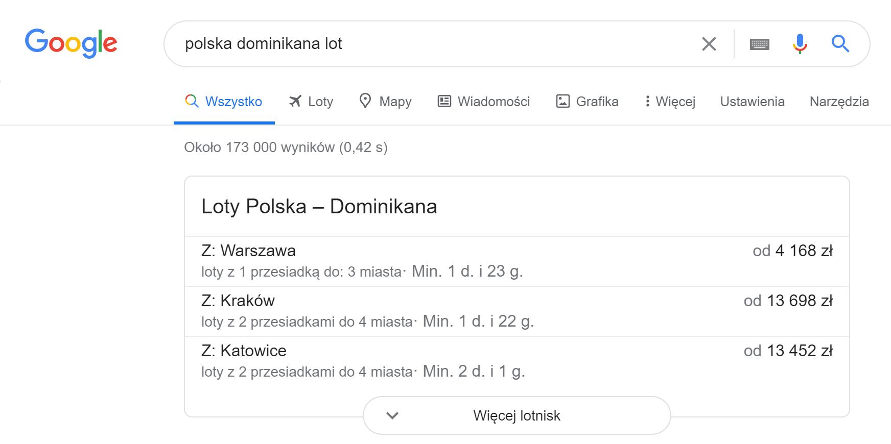 wyszukiwarka lotów jako przykład direct answear