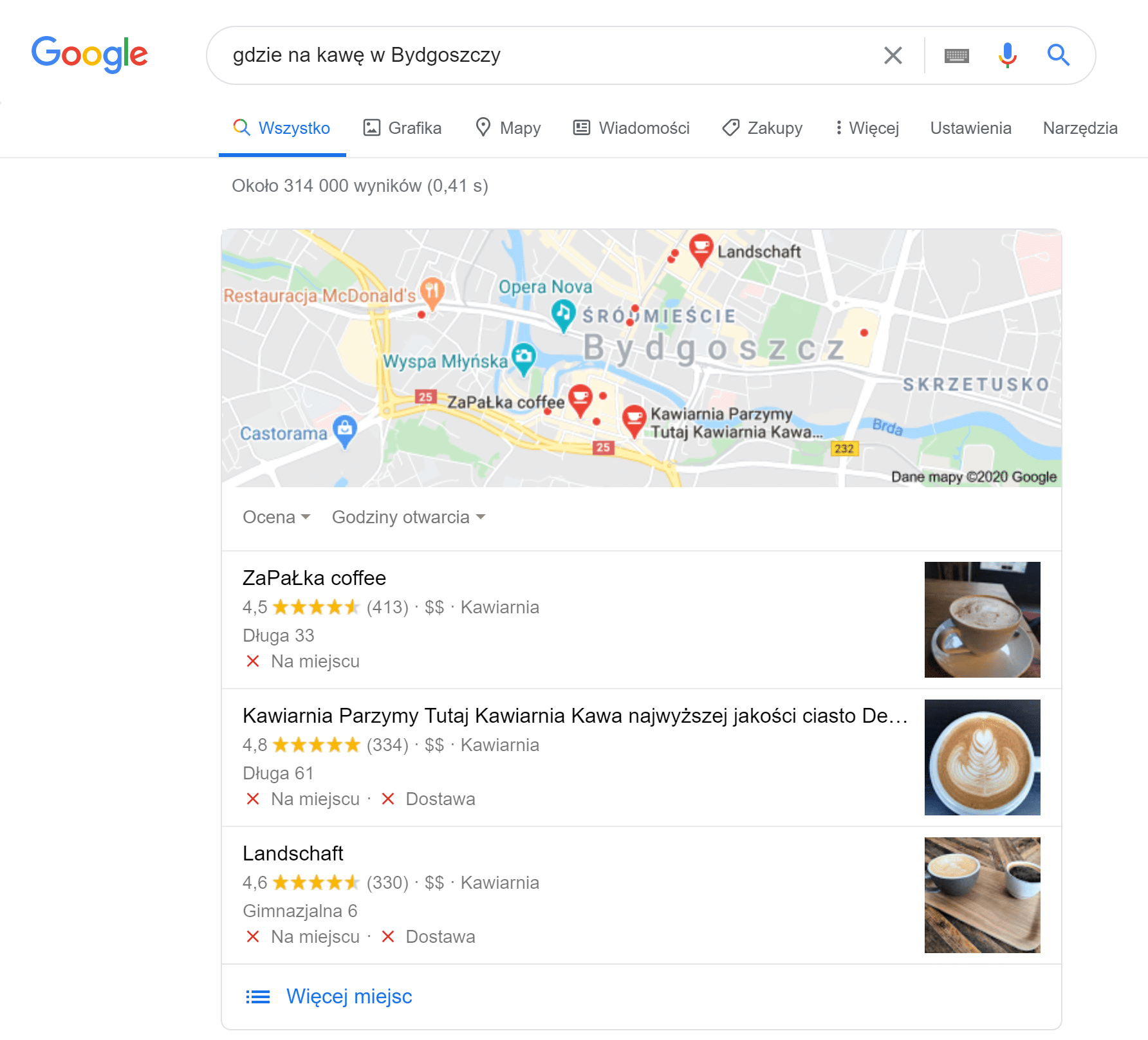 Mapy Google jako dodatek w SERP-ach