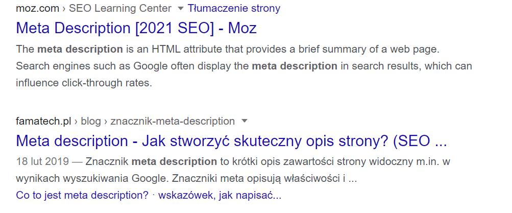 Meta description dopasowane do intencji użytkownika