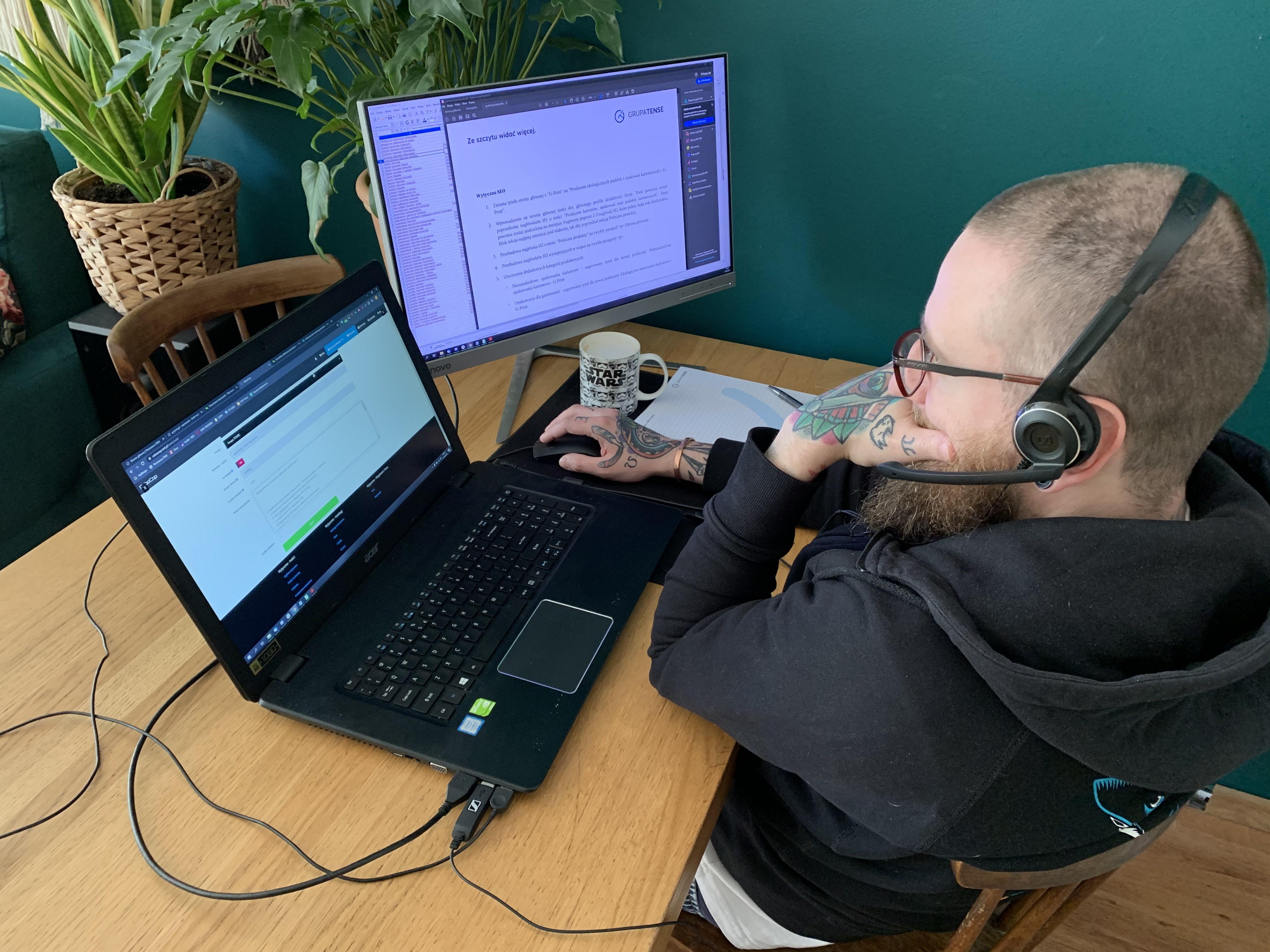 Michał Woronin podczas pracy