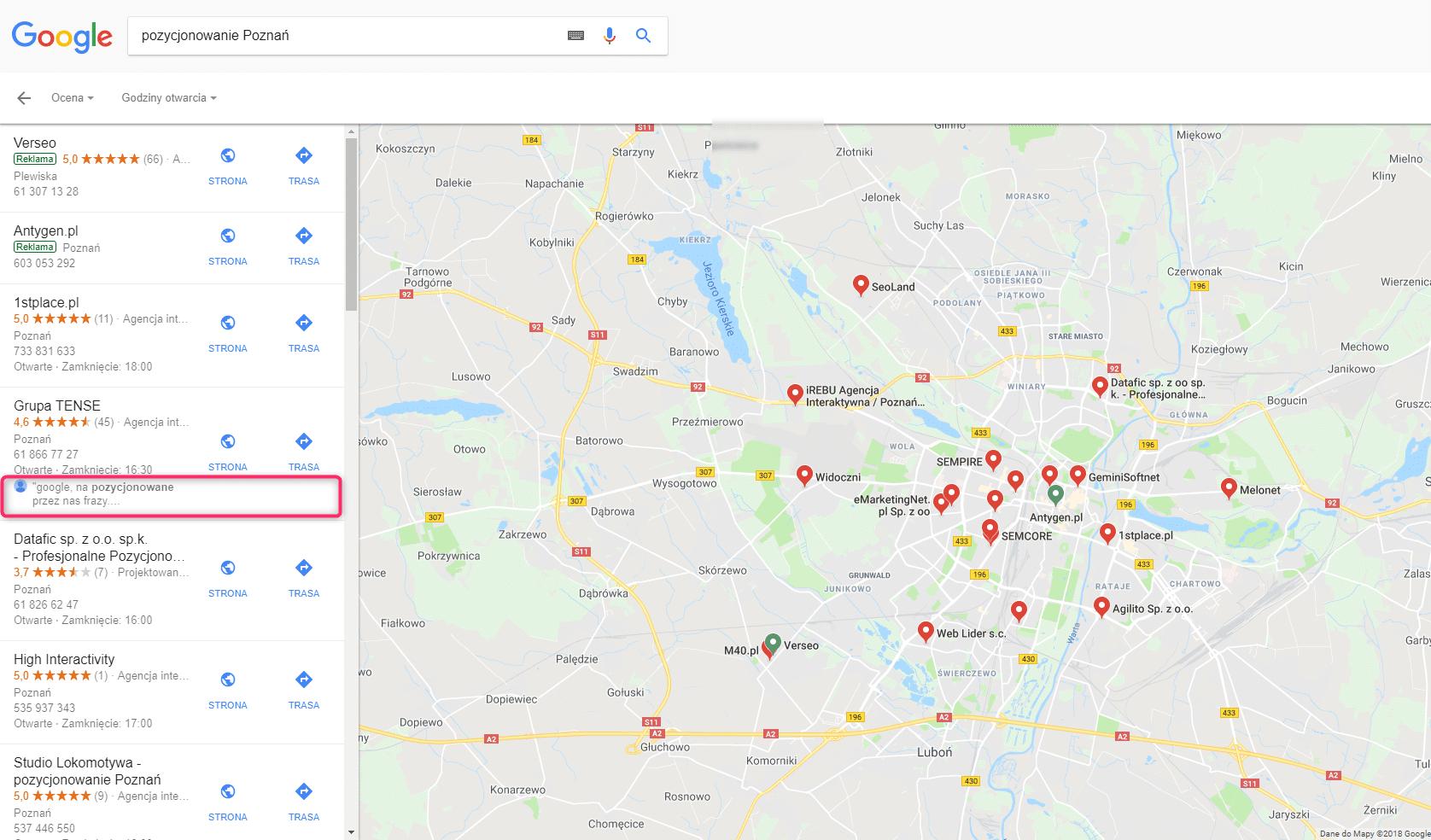 pozycjonowanie poznan google maps