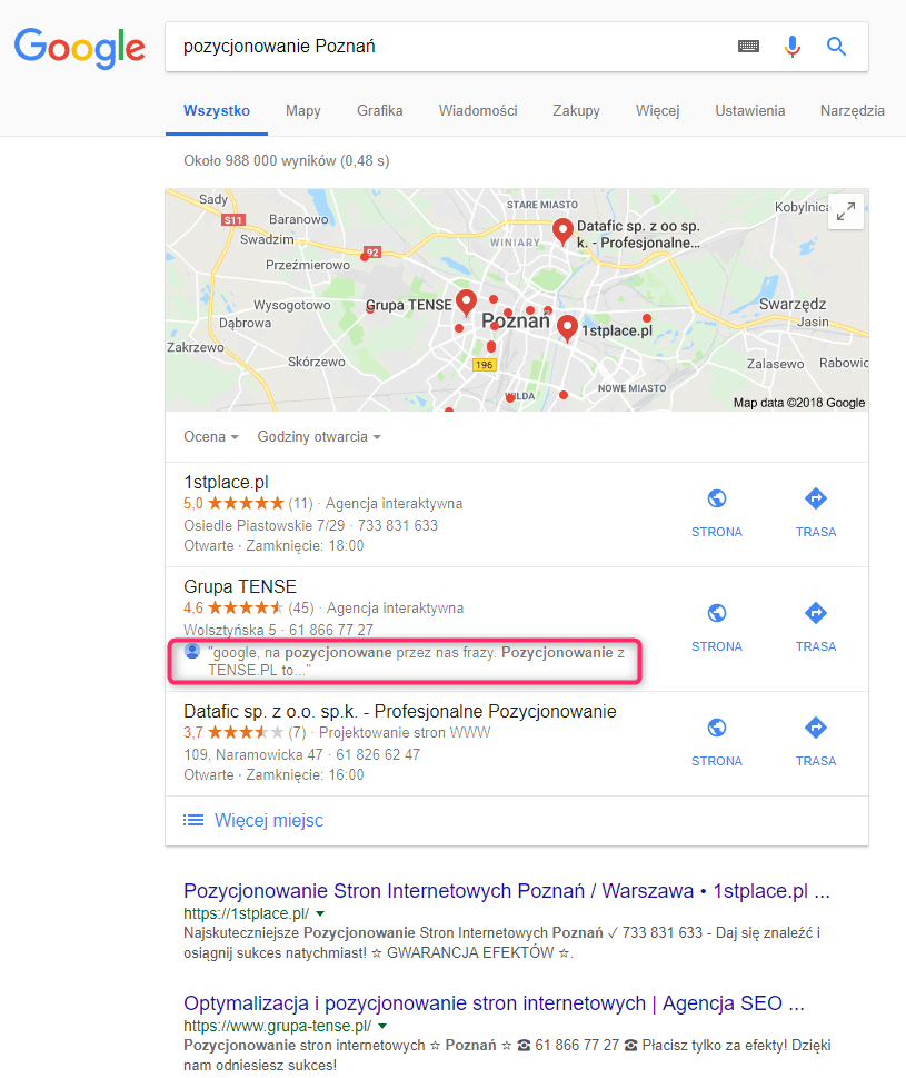 pozycjonowanie poznan google search